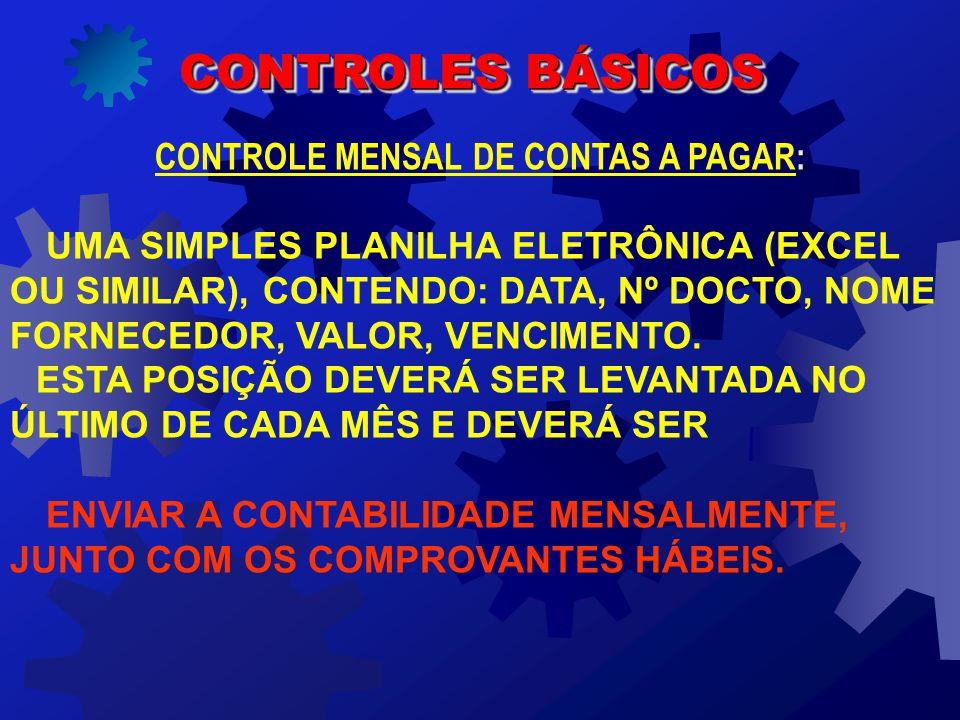 : CONTROLE MENSAL DE CONTAS A PAGAR: UMA SIMPLES PLANILHA ELETRÔNICA (EXCEL OU SIMILAR), CONTENDO: DATA, Nº DOCTO, NOME FORNECEDOR, VALOR, VENCIMENTO.