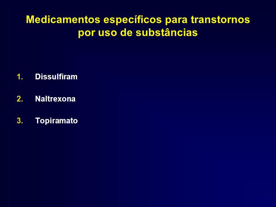 Medicamentos específicos para transtornos por uso de substâncias 1.Dissulfiram 2.Naltrexona 3.Topiramato