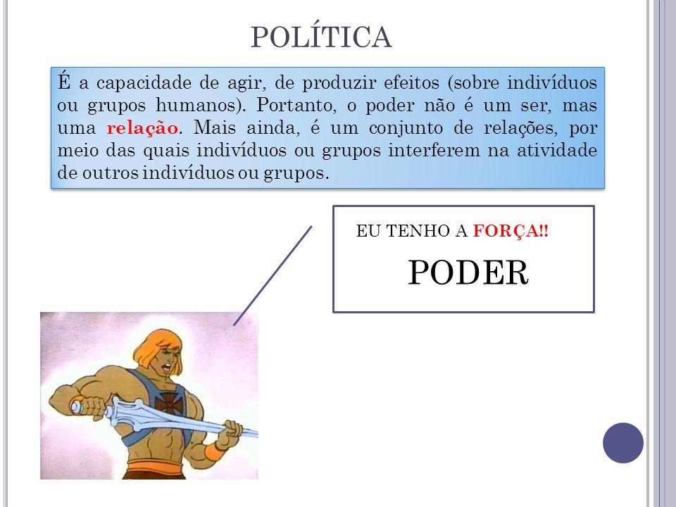 POLÍTICA EU TENHO A FORÇA!! PODER É a capacidade de agir, de produzir efeitos (sobre indivíduos ou grupos humanos). Portanto, o poder não é um ser, ma