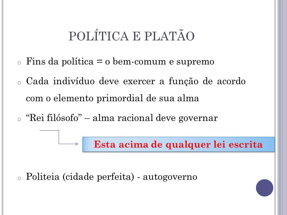 POLÍTICA E PLATÃO o Fins da política = o bem-comum e supremo o Cada indivíduo deve exercer a função de acordo com o elemento primordial de sua alma o
