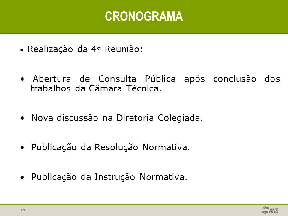 24 CRONOGRAMA Realização da 4ª Reunião: Abertura de Consulta Pública após conclusão dos trabalhos da Câmara Técnica. Nova discussão na Diretoria Coleg