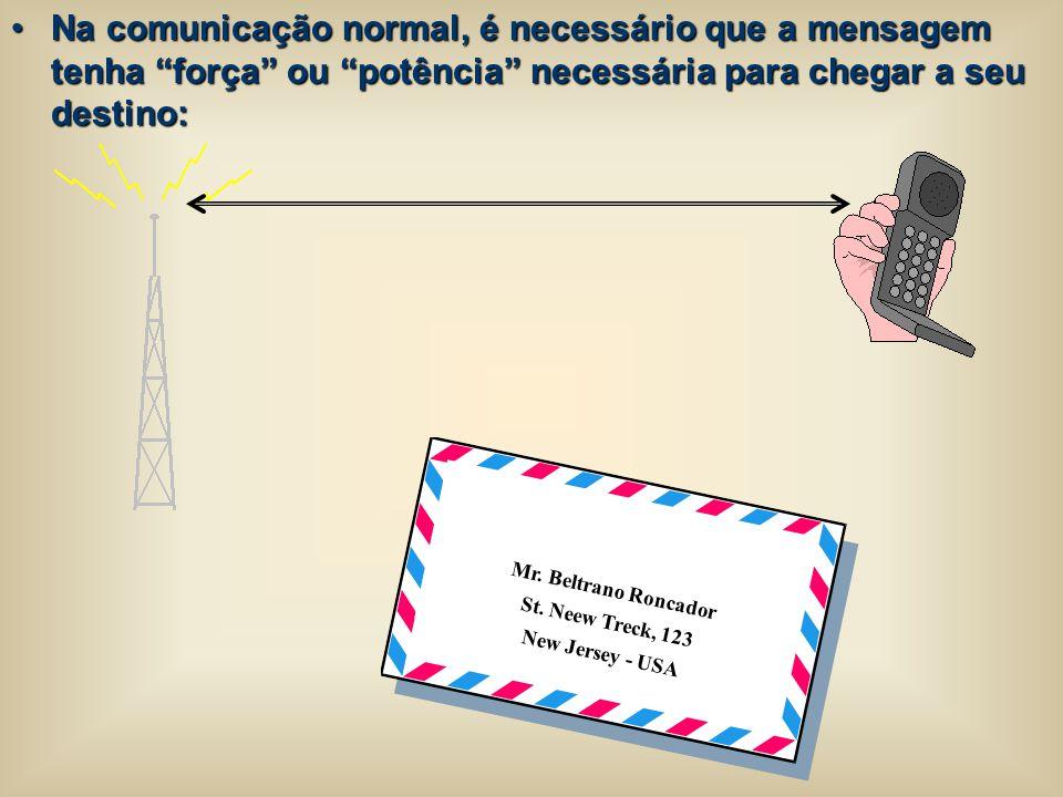 """Na comunicação normal, é necessário que a mensagem tenha """"força"""" ou """"potência"""" necessária para chegar a seu destino:Na comunicação normal, é necessári"""