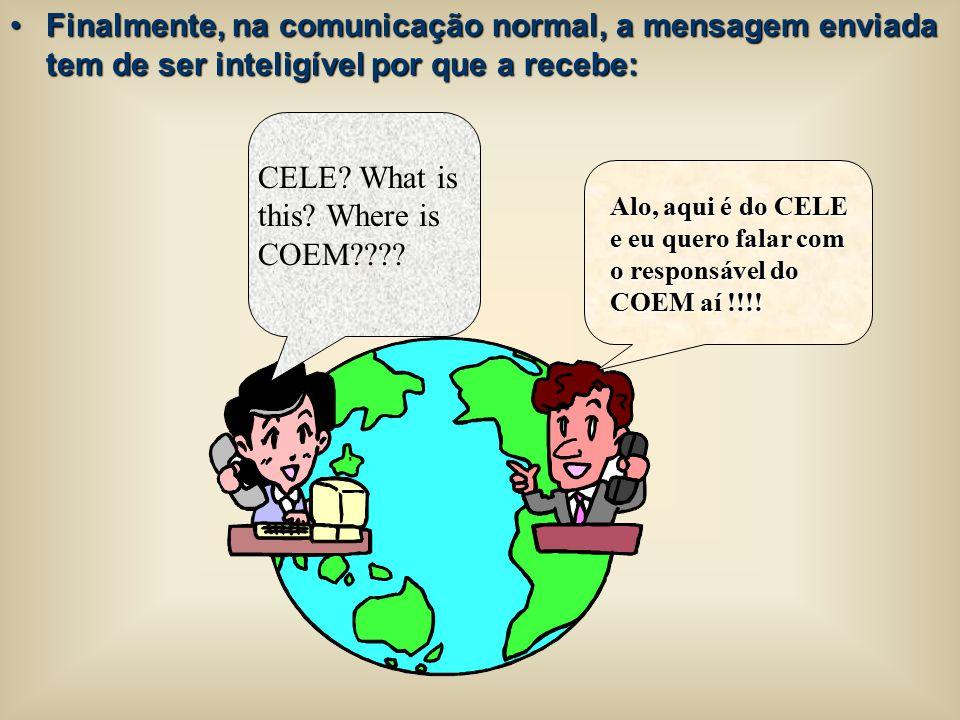 Finalmente, na comunicação normal, a mensagem enviada tem de ser inteligível por que a recebe:Finalmente, na comunicação normal, a mensagem enviada te