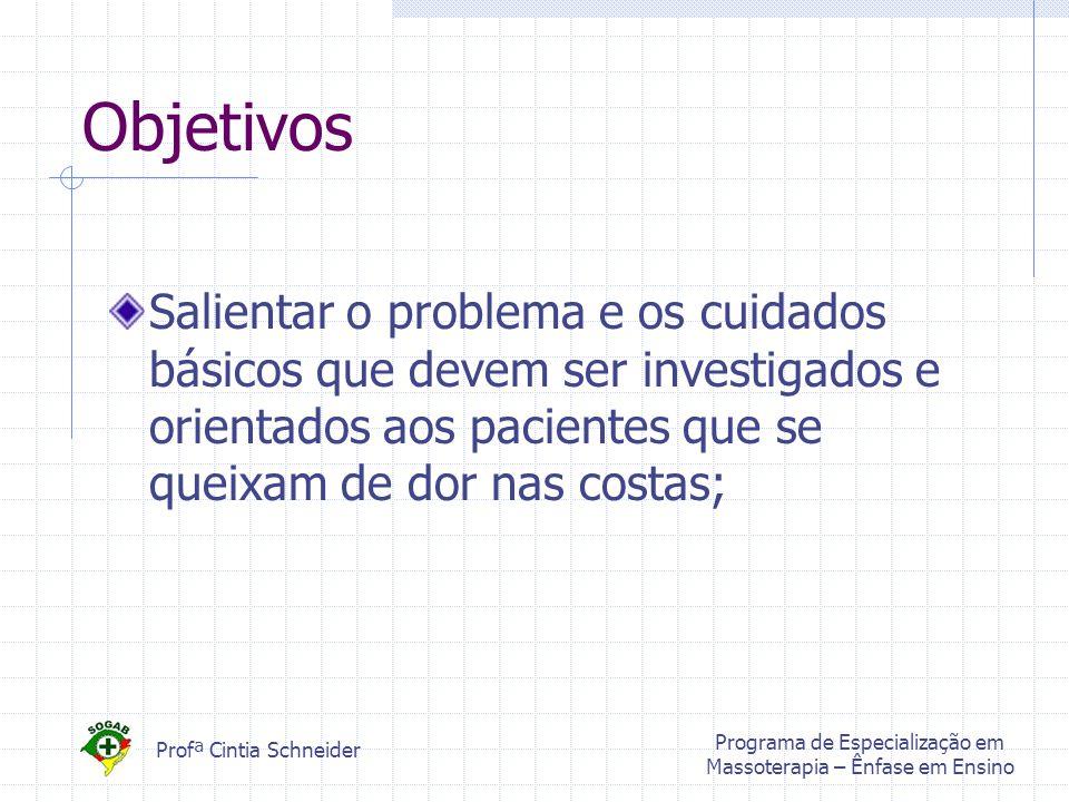 Profª Cintia Schneider Programa de Especialização em Massoterapia – Ênfase em Ensino Objetivos Salientar o problema e os cuidados básicos que devem ser investigados e orientados aos pacientes que se queixam de dor nas costas;