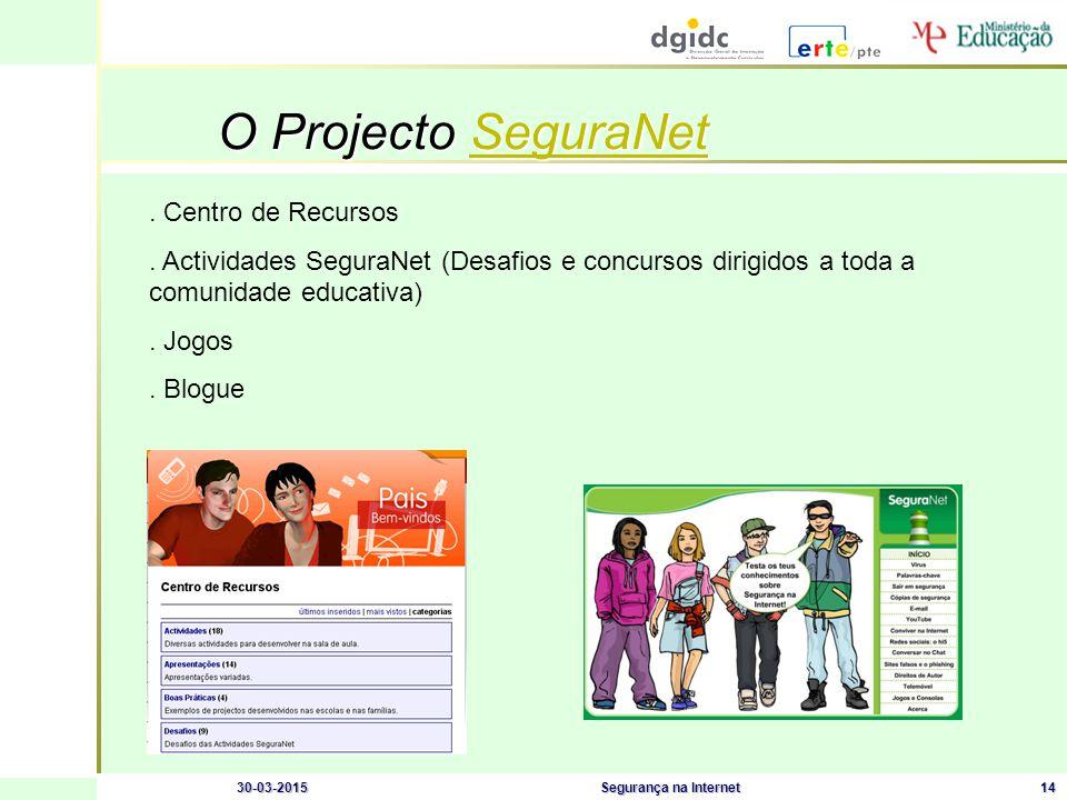 30-03-2015Segurança na Internet14 O Projecto SeguraNet SeguraNet.