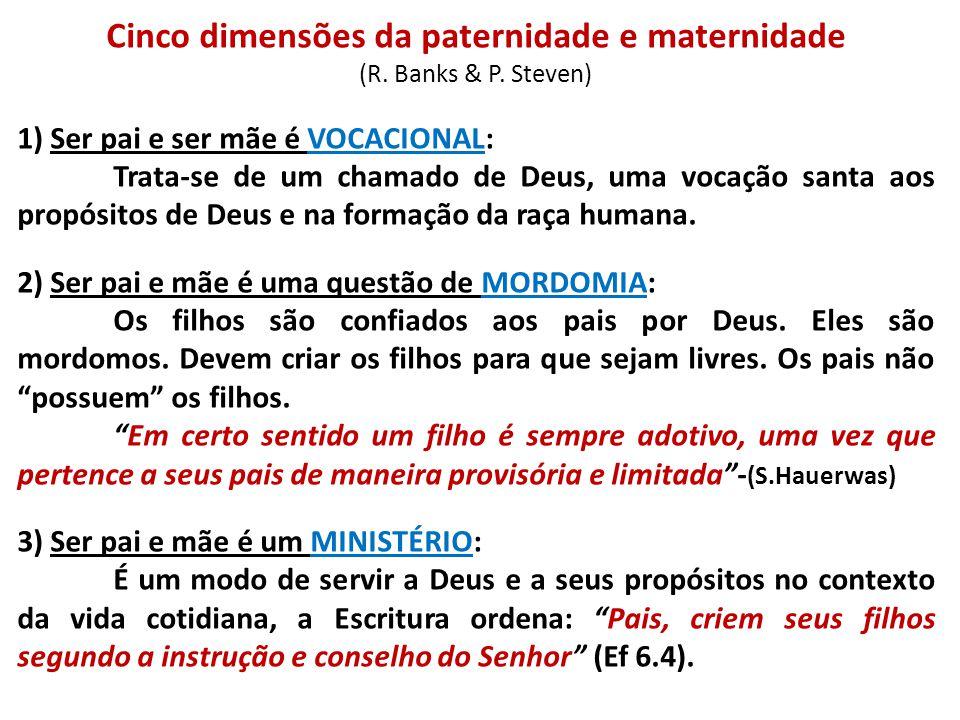 Cinco dimensões da paternidade e maternidade (R. Banks & P. Steven) 1) Ser pai e ser mãe é VOCACIONAL: Trata-se de um chamado de Deus, uma vocação san