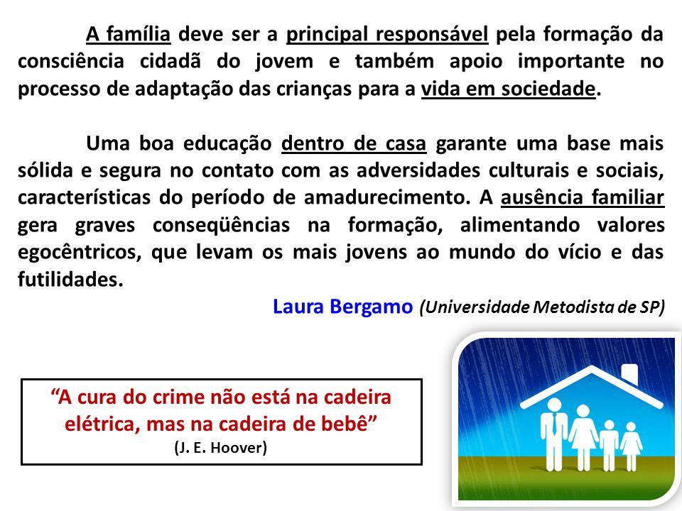 A família deve ser a principal responsável pela formação da consciência cidadã do jovem e também apoio importante no processo de adaptação das criança