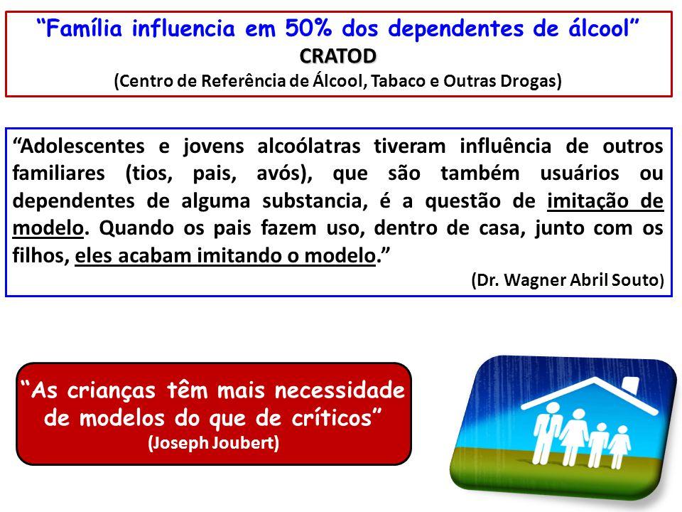 """""""Família influencia em 50% dos dependentes de álcool""""CRATOD (Centro de Referência de Álcool, Tabaco e Outras Drogas) """"Adolescentes e jovens alcoólatra"""