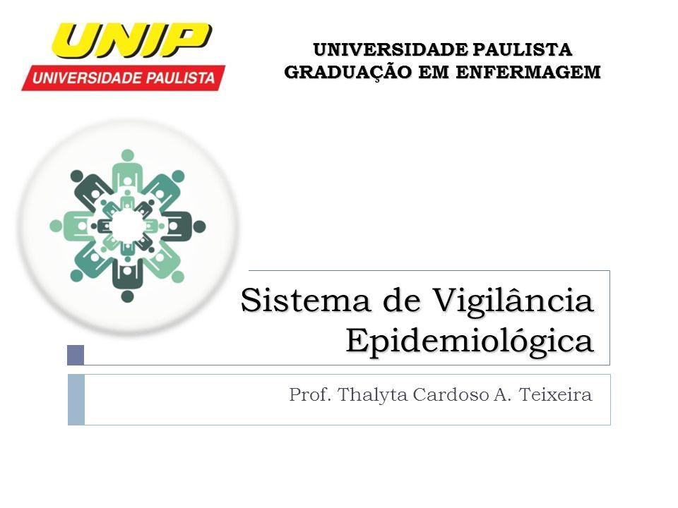 Sistema de Vigilância Epidemiológica Prof. Thalyta Cardoso A. Teixeira UNIVERSIDADE PAULISTA GRADUAÇÃO EM ENFERMAGEM