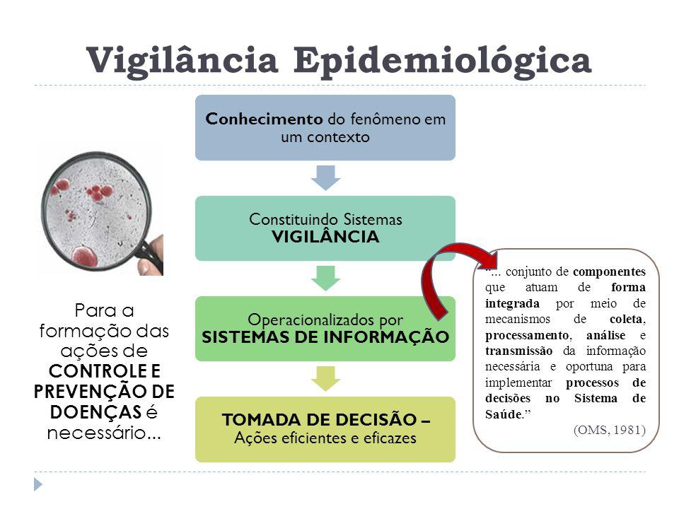 Conhecimento do fenômeno em um contexto Constituindo Sistemas VIGILÂNCIA Operacionalizados por SISTEMAS DE INFORMAÇÃO TOMADA DE DECISÃO – Ações eficie