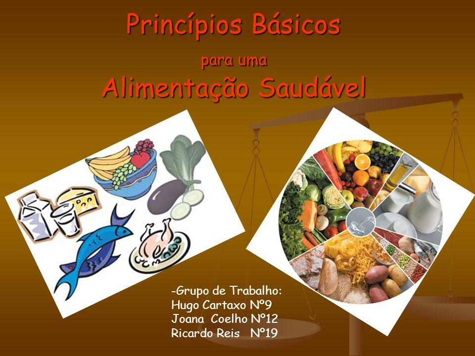 Princípios Básicos para uma Alimentação Saudável -Grupo de Trabalho: Hugo Cartaxo Nº9 Joana Coelho Nº12 Ricardo Reis Nº19