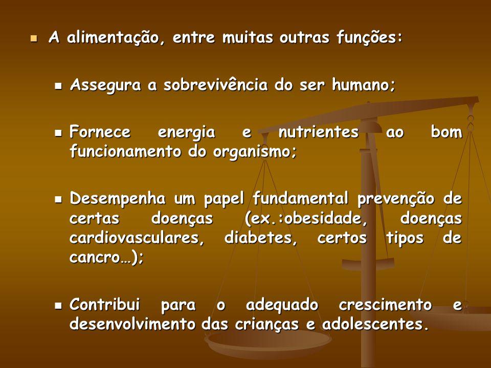 A alimentação, entre muitas outras funções: A alimentação, entre muitas outras funções: Assegura a sobrevivência do ser humano; Assegura a sobrevivênc