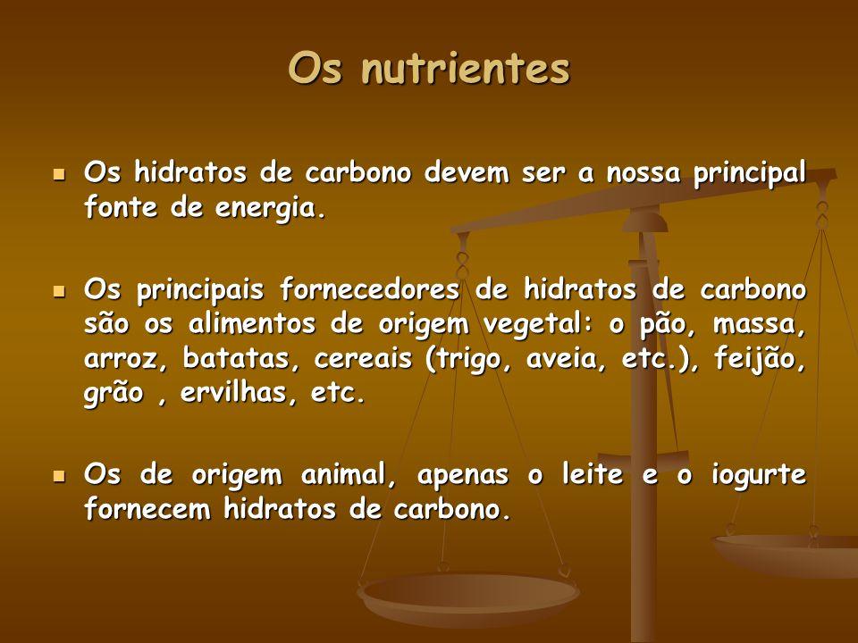 Os nutrientes Os hidratos de carbono devem ser a nossa principal fonte de energia. Os hidratos de carbono devem ser a nossa principal fonte de energia