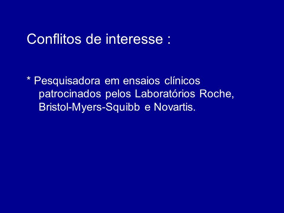 Conflitos de interesse : * Pesquisadora em ensaios clínicos patrocinados pelos Laboratórios Roche, Bristol-Myers-Squibb e Novartis.