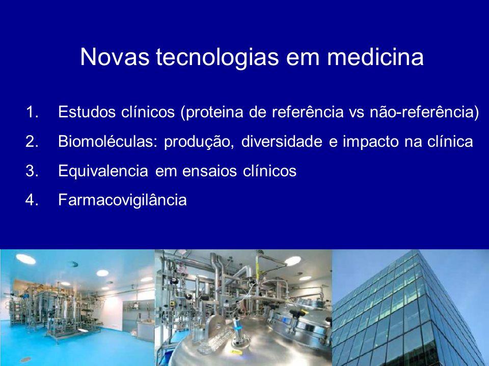 Novas tecnologias em medicina 1.Estudos clínicos (proteina de referência vs não-referência) 2.Biomoléculas: produção, diversidade e impacto na clínica