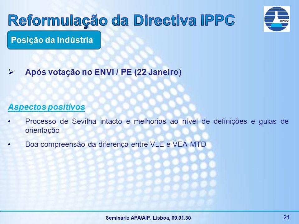Seminário APA/AIP, Lisboa, 09.01.30 21  Após votação no ENVI / PE (22 Janeiro) Aspectos positivos Processo de Sevilha intacto e melhorias ao nível de definições e guias de orientação Boa compreensão da diferença entre VLE e VEA-MTD Posição da Indústria