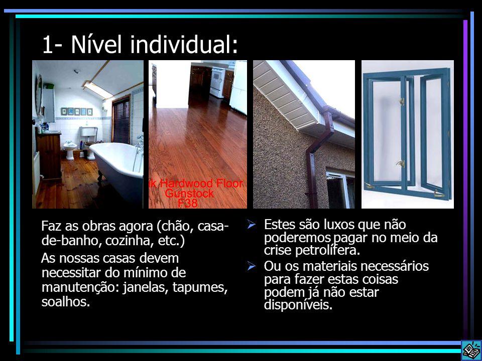1- Nível individual: Faz as obras agora (chão, casa- de-banho, cozinha, etc.) As nossas casas devem necessitar do mínimo de manutenção: janelas, tapum