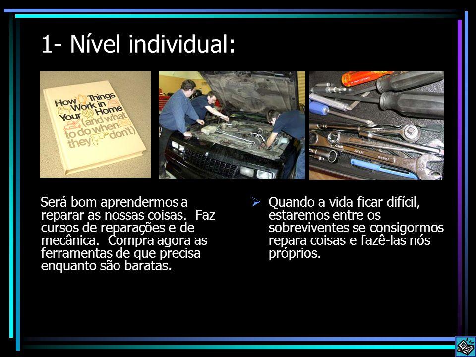 1- Nível individual: Será bom aprendermos a reparar as nossas coisas. Faz cursos de reparações e de mecânica. Compra agora as ferramentas de que preci