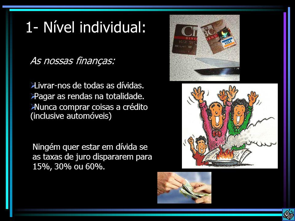 1- Nível individual: As nossas finanças:  Livrar-nos de todas as dívidas.  Pagar as rendas na totalidade.  Nunca comprar coisas a crédito (inclusiv