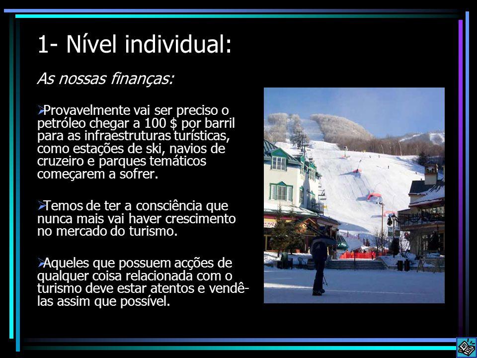 1- Nível individual: As nossas finanças:  Provavelmente vai ser preciso o petróleo chegar a 100 $ por barril para as infraestruturas turísticas, como estações de ski, navios de cruzeiro e parques temáticos começarem a sofrer.