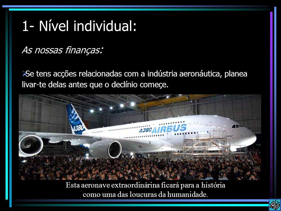 1- Nível individual: As nossas finanças :  Se tens acções relacionadas com a indústria aeronáutica, planea livar-te delas antes que o declínio começe.