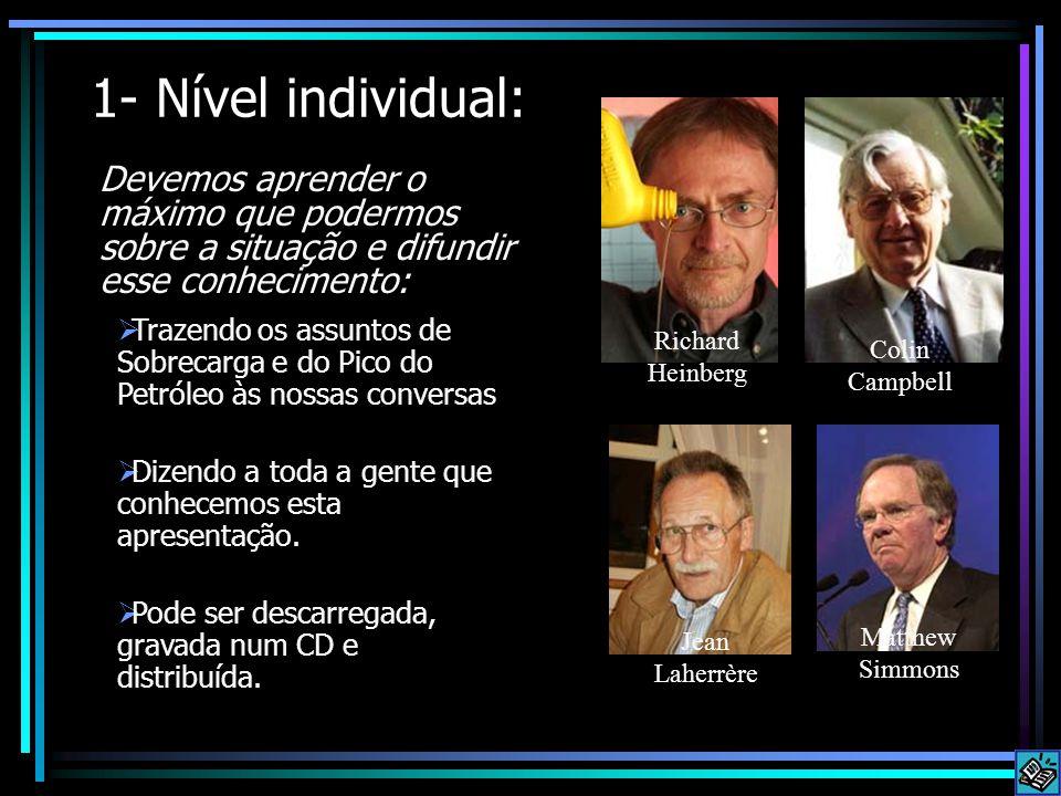 1- Nível individual: Devemos aprender o máximo que podermos sobre a situação e difundir esse conhecimento: Richard Heinberg Colin Campbell Jean Laherr