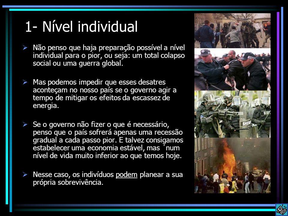 1- Nível individual  Não penso que haja preparação possível a nível individual para o pior, ou seja: um total colapso social ou uma guerra global. 