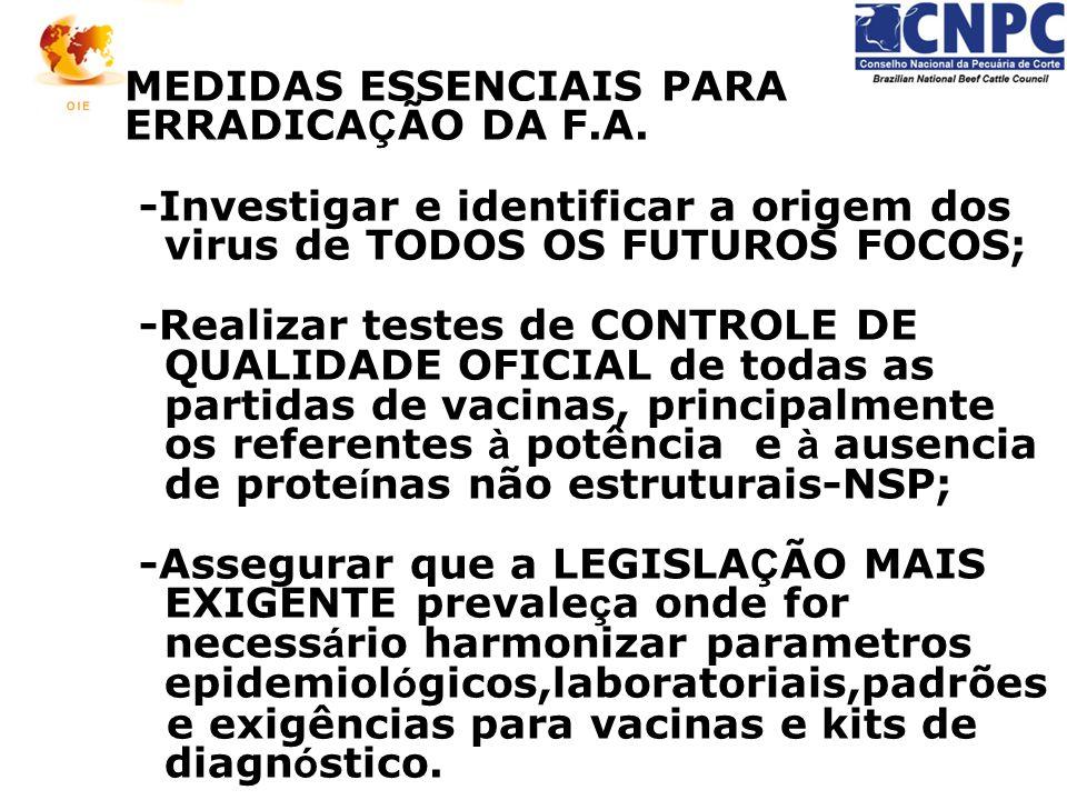 MEDIDAS ESSENCIAIS PARA ERRADICA Ç ÃO DA F.A. -Investigar e identificar a origem dos virus de TODOS OS FUTUROS FOCOS; -Realizar testes de CONTROLE DE