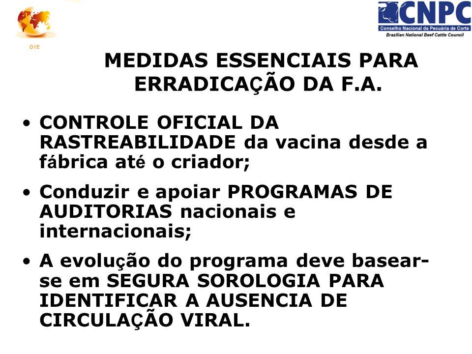 MEDIDAS ESSENCIAIS PARA ERRADICA Ç ÃO DA F.A. CONTROLE OFICIAL DA RASTREABILIDADE da vacina desde a f á brica at é o criador; Conduzir e apoiar PROGRA