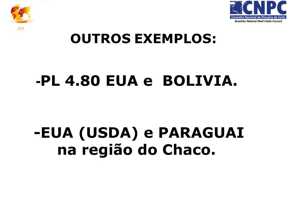 - PL 4.80 EUA e BOLIVIA. -EUA (USDA) e PARAGUAI na região do Chaco. OUTROS EXEMPLOS: