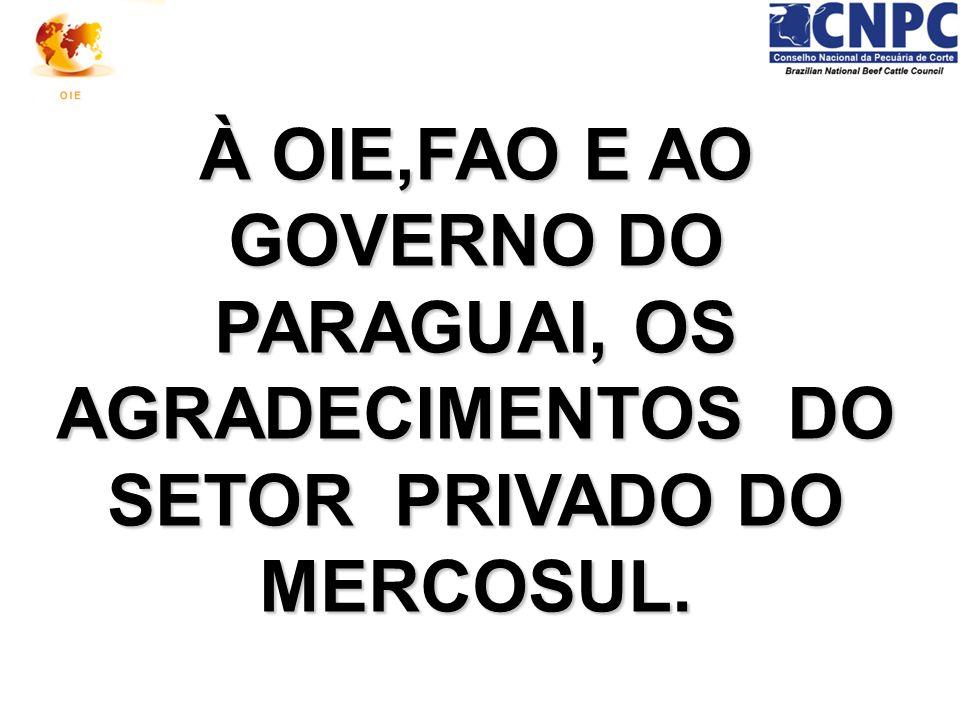 À OIE,FAO E AO GOVERNO DO PARAGUAI, OS AGRADECIMENTOS DO SETOR PRIVADO DO MERCOSUL.