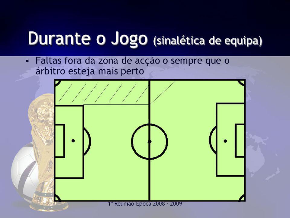 1ª Reunião Época 2008 - 2009 Durante o Jogo (sinalética de equipa) Faltas fora da zona de acção o sempre que o árbitro esteja mais perto