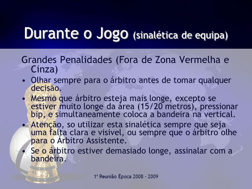 1ª Reunião Época 2008 - 2009 Durante o Jogo (sinalética de equipa) Grandes Penalidades (Fora de Zona Vermelha e Cinza) Olhar sempre para o árbitro antes de tomar qualquer decisão.