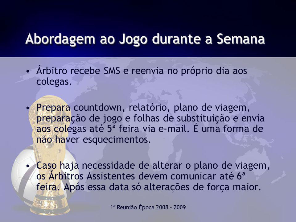1ª Reunião Época 2008 - 2009 Abordagem ao Jogo durante a Semana Árbitro recebe SMS e reenvia no próprio dia aos colegas.