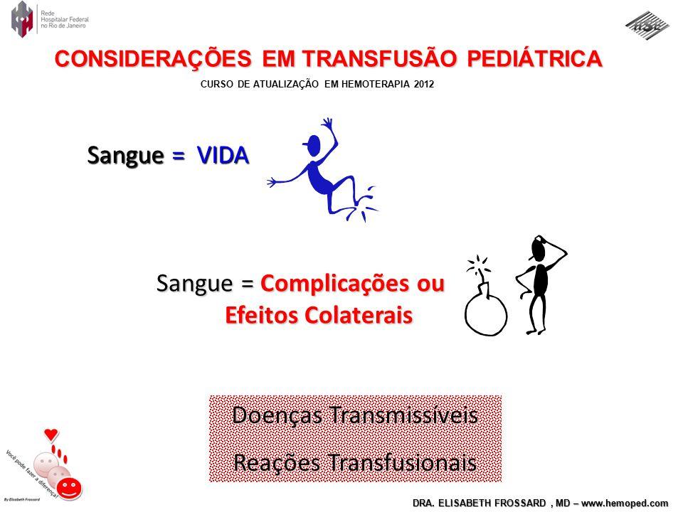 CURSO DE ATUALIZAÇÃO EM HEMOTERAPIA 2012 DRA. ELISABETH FROSSARD, MD – www.hemoped.com CONSIDERAÇÕES EM TRANSFUSÃO PEDIÁTRICA Sangue = VIDA Sangue = C
