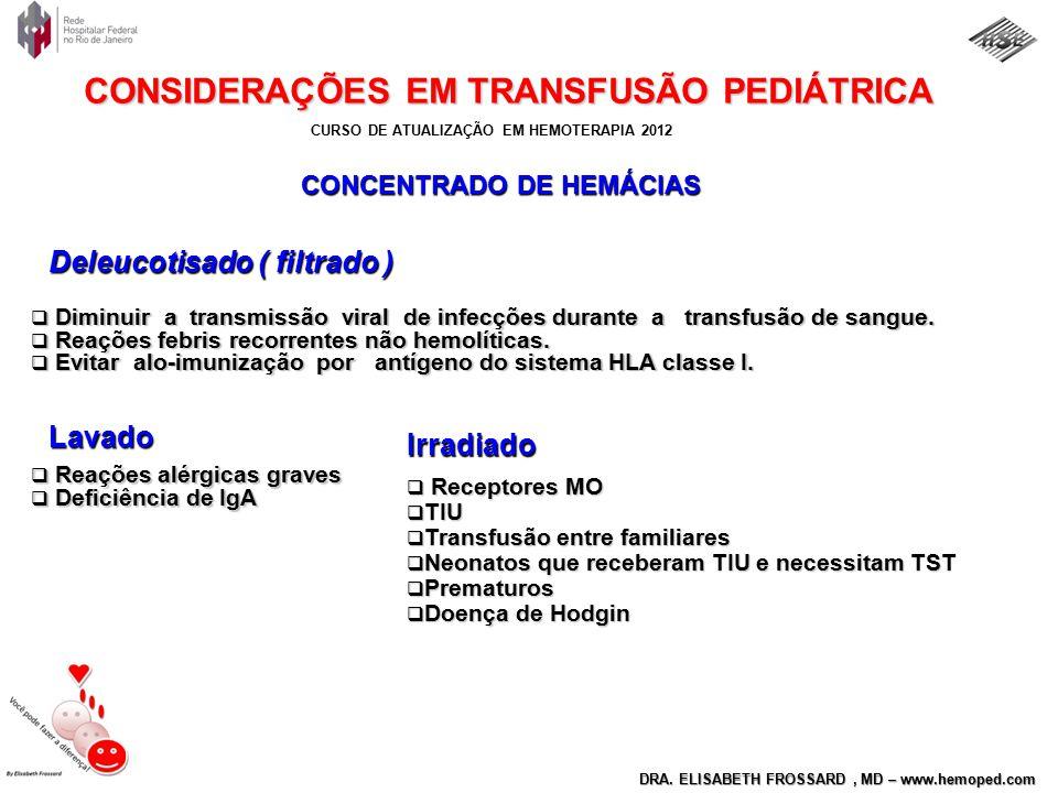 CURSO DE ATUALIZAÇÃO EM HEMOTERAPIA 2012 DRA. ELISABETH FROSSARD, MD – www.hemoped.com CONSIDERAÇÕES EM TRANSFUSÃO PEDIÁTRICA  Diminuir a transmissão