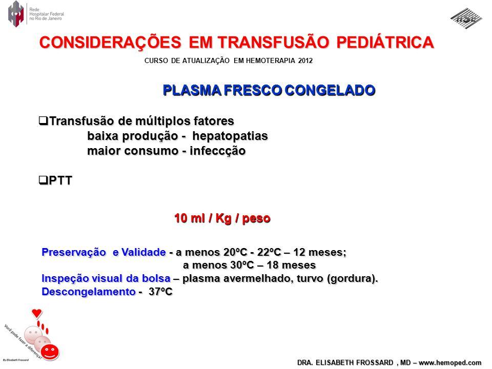 CURSO DE ATUALIZAÇÃO EM HEMOTERAPIA 2012 DRA. ELISABETH FROSSARD, MD – www.hemoped.com CONSIDERAÇÕES EM TRANSFUSÃO PEDIÁTRICA PLASMA FRESCO CONGELADO