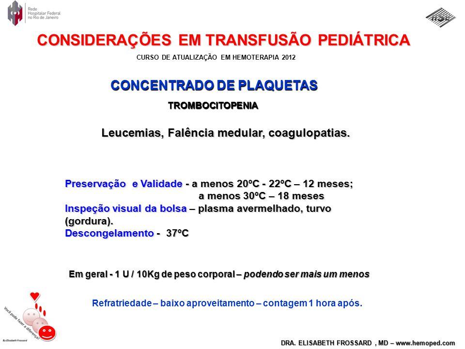 CURSO DE ATUALIZAÇÃO EM HEMOTERAPIA 2012 DRA. ELISABETH FROSSARD, MD – www.hemoped.com CONSIDERAÇÕES EM TRANSFUSÃO PEDIÁTRICA CONCENTRADO DE PLAQUETAS
