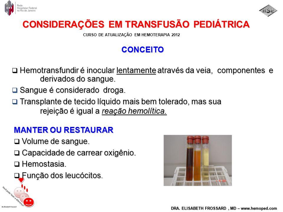 CURSO DE ATUALIZAÇÃO EM HEMOTERAPIA 2012 DRA. ELISABETH FROSSARD, MD – www.hemoped.com CONSIDERAÇÕES EM TRANSFUSÃO PEDIÁTRICA MANTER OU RESTAURAR  Vo