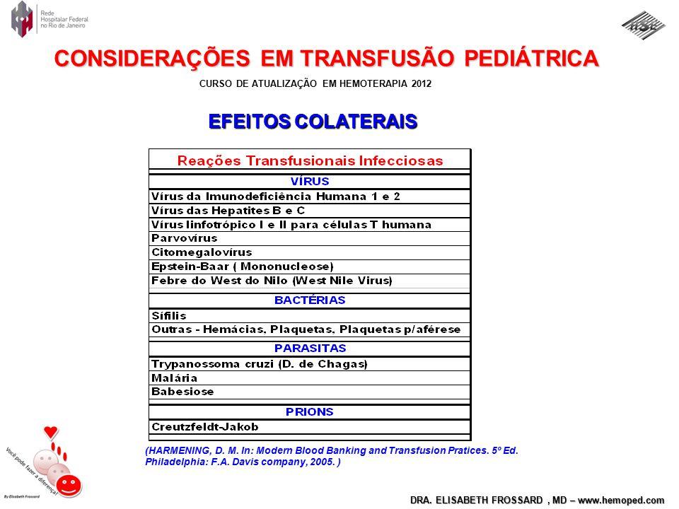 CURSO DE ATUALIZAÇÃO EM HEMOTERAPIA 2012 DRA. ELISABETH FROSSARD, MD – www.hemoped.com CONSIDERAÇÕES EM TRANSFUSÃO PEDIÁTRICA (HARMENING, D. M. In: Mo