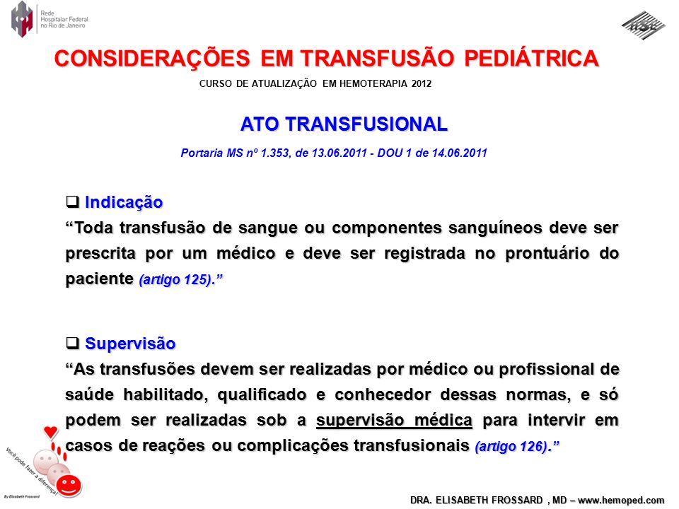 CURSO DE ATUALIZAÇÃO EM HEMOTERAPIA 2012 DRA. ELISABETH FROSSARD, MD – www.hemoped.com CONSIDERAÇÕES EM TRANSFUSÃO PEDIÁTRICA ATO TRANSFUSIONAL ATO TR