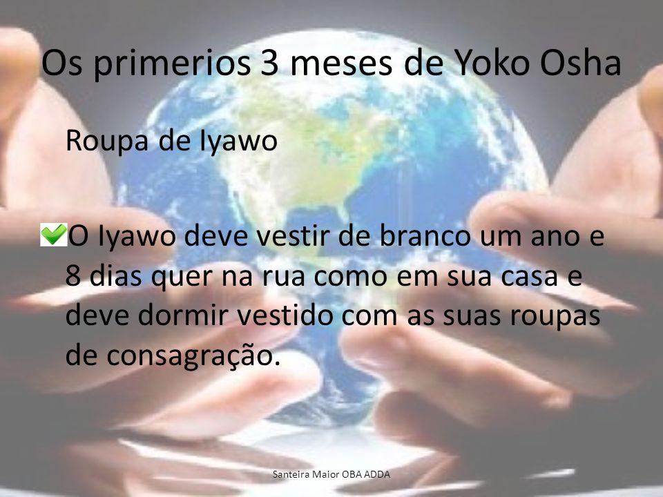 Os primerios 3 meses de Yoko Osha Roupa de Iyawo O Iyawo deve vestir de branco um ano e 8 dias quer na rua como em sua casa e deve dormir vestido com