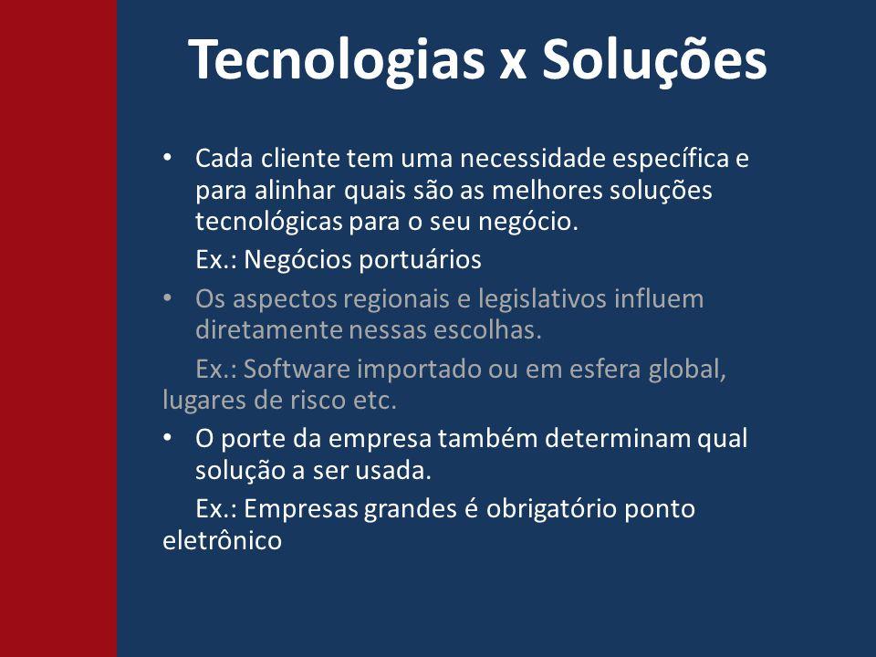 Tecnologias x Soluções Cada cliente tem uma necessidade específica e para alinhar quais são as melhores soluções tecnológicas para o seu negócio.