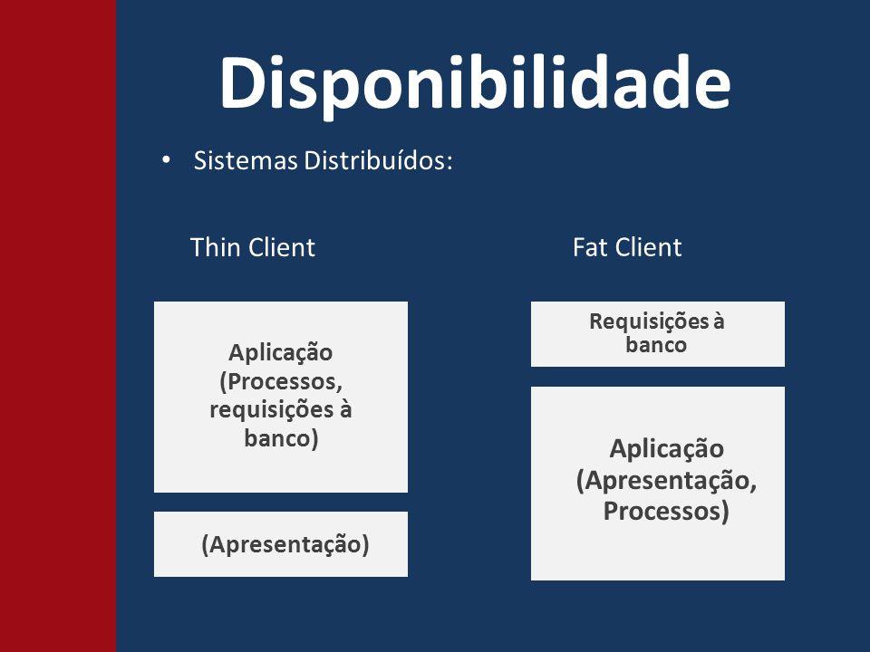 Disponibilidade Sistemas Distribuídos: Fat Client Thin Client Aplicação (Processos, requisições à banco) Aplicação (Apresentação, Processos) (Apresentação) Requisições à banco