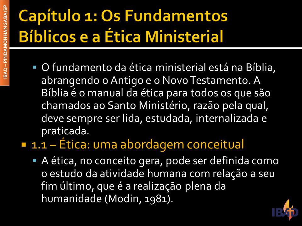 IBAD – PINDAMONHANGABA/SP  O fundamento da ética ministerial está na Bíblia, abrangendo o Antigo e o Novo Testamento. A Bíblia é o manual da ética pa
