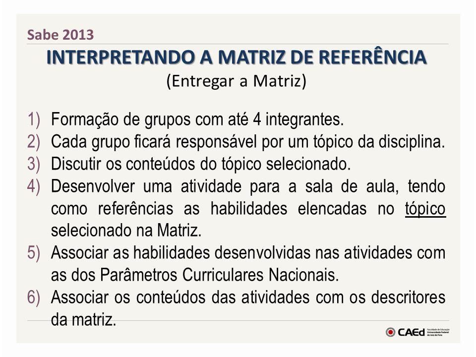 Sabe 2013 INTERPRETANDO A MATRIZ DE REFERÊNCIA (Entregar a Matriz) 1)Formação de grupos com até 4 integrantes. 2)Cada grupo ficará responsável por um