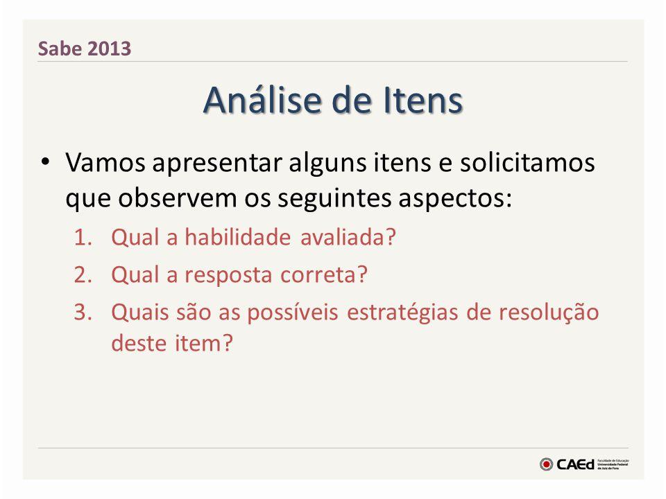 Análise de Itens Vamos apresentar alguns itens e solicitamos que observem os seguintes aspectos: 1.Qual a habilidade avaliada? 2.Qual a resposta corre