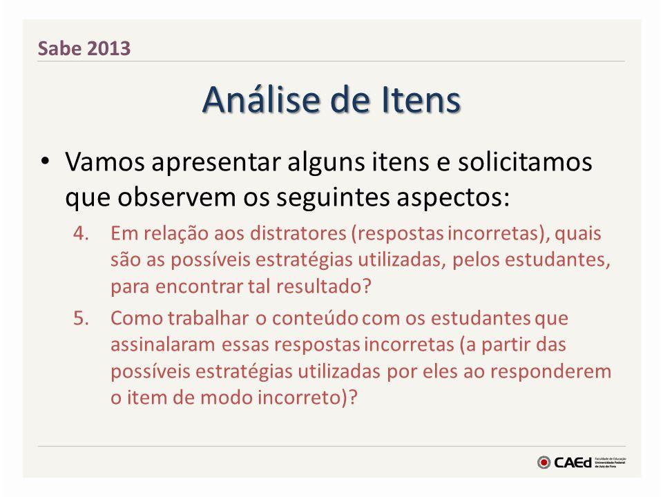 Análise de Itens Vamos apresentar alguns itens e solicitamos que observem os seguintes aspectos: 4.Em relação aos distratores (respostas incorretas),