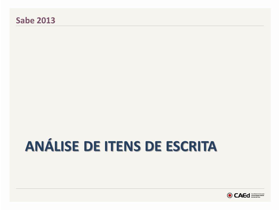 ANÁLISE DE ITENS DE ESCRITA Sabe 2013