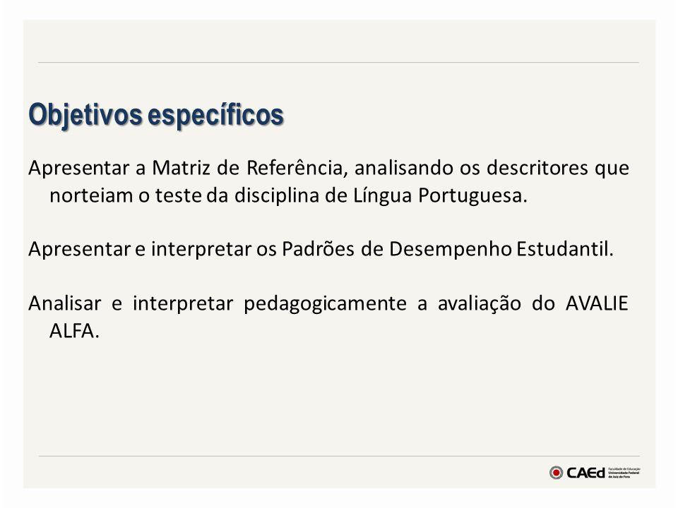 Objetivos específicos Apresentar a Matriz de Referência, analisando os descritores que norteiam o teste da disciplina de Língua Portuguesa. Apresentar